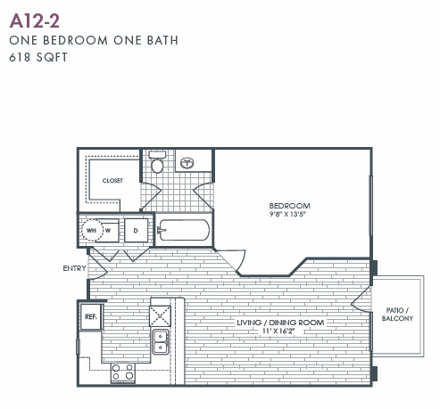 618 sq. ft. A12-2 floor plan