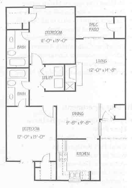 970 sq. ft. B2 50 floor plan