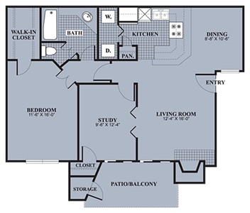 885 sq. ft. A3 floor plan