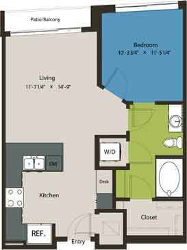 658 sq. ft. A8D floor plan
