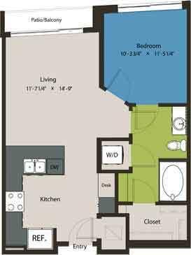 658 sq. ft. A8D floor plan