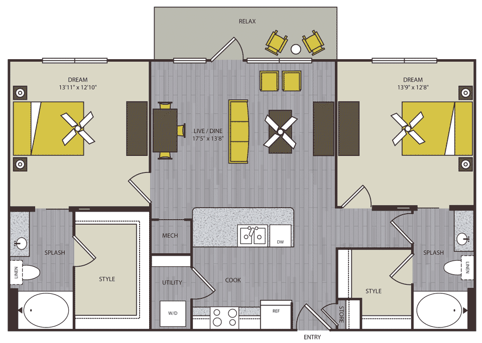1,149 sq. ft. to 1,160 sq. ft. B2 floor plan