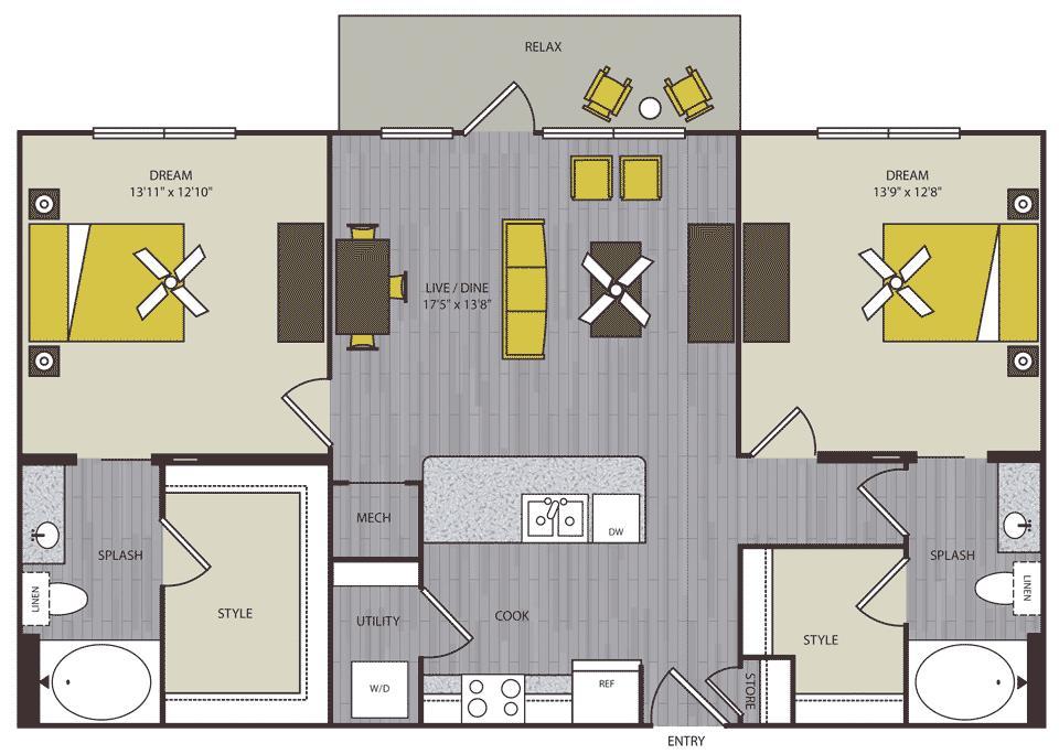 1,149 sq. ft. to 1,160 sq. ft. B2 floor plan