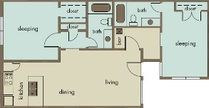 916 sq. ft. B5/HARMONY floor plan
