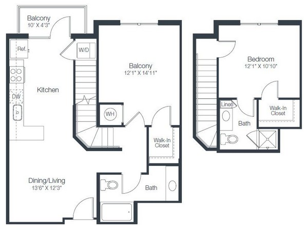 978 sq. ft. B1A floor plan
