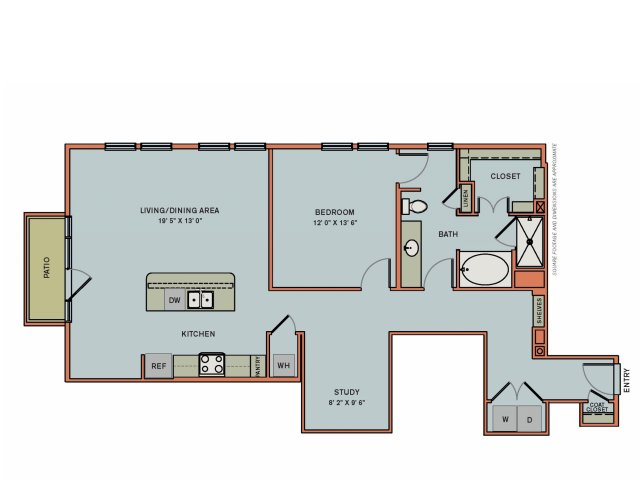 1,158 sq. ft. 3AS2 floor plan