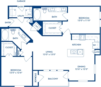 1,175 sq. ft. B3B floor plan