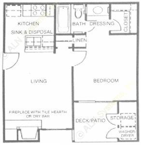 500 sq. ft. Amethyst floor plan