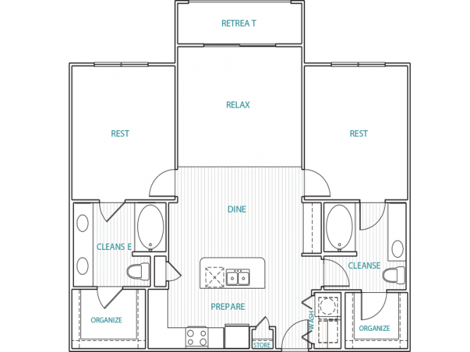 1,169 sq. ft. B2 floor plan