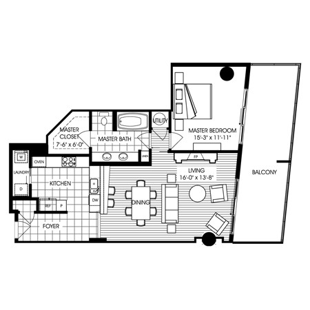 1,076 sq. ft. B6 floor plan