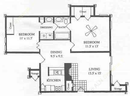 860 sq. ft. B1 floor plan