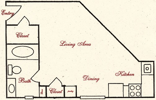 343 sq. ft. E2 floor plan