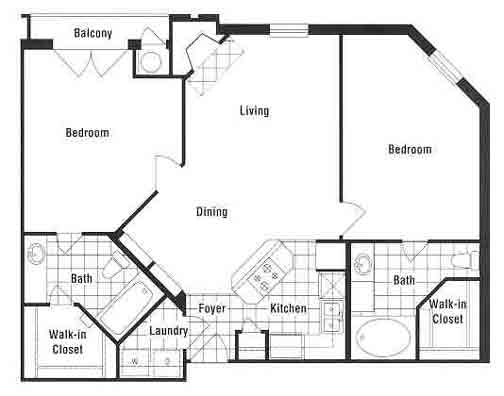 1,012 sq. ft. to 1,039 sq. ft. B1 floor plan