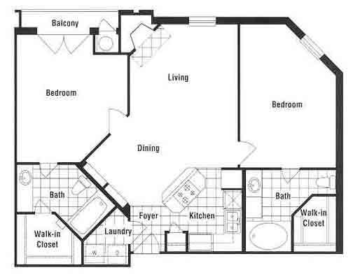 1,012 sq. ft. to 1,039 sq. ft. B1 floor plan