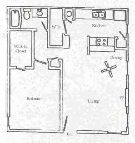 710 sq. ft. A1 floor plan