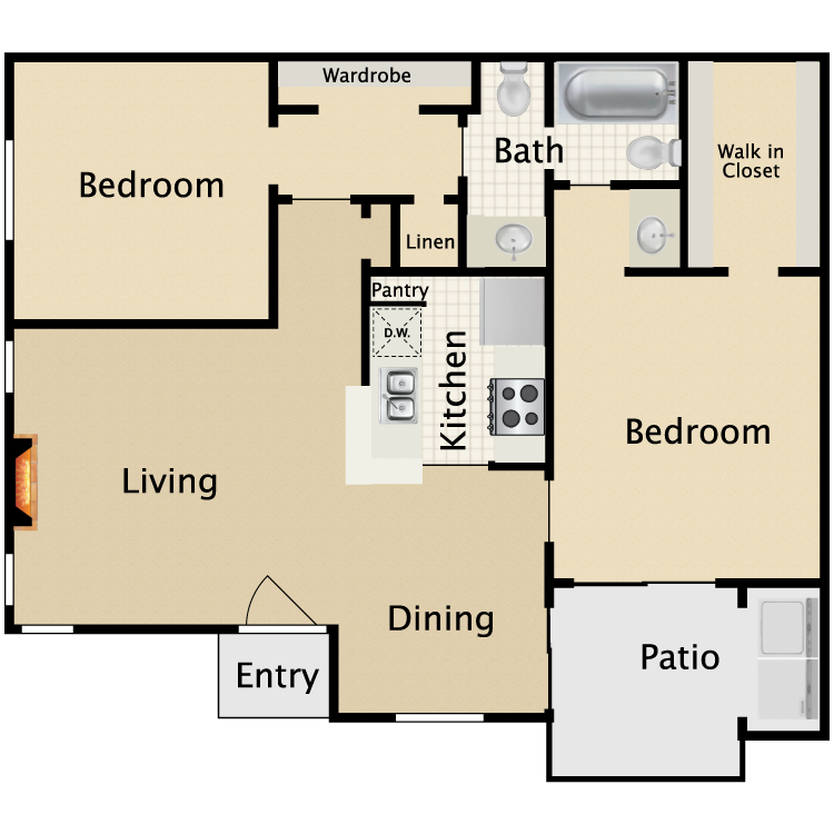 830 sq. ft. D1/D2 floor plan
