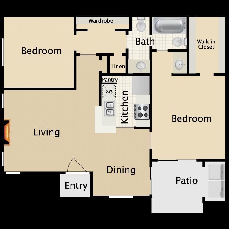 830 sq. ft. D1/D2 floor plan