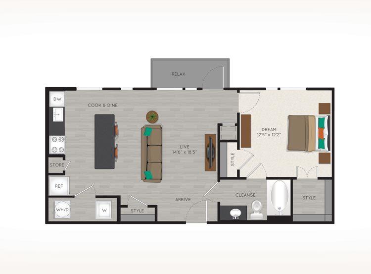 770 sq. ft. L1 floor plan
