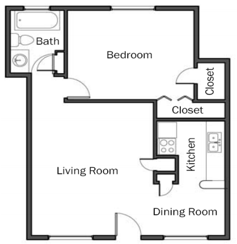 685 sq. ft. A3 floor plan