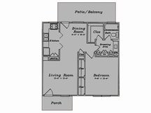 688 sq. ft. A1/80% floor plan