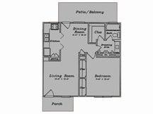 688 sq. ft. A1/80% floor plan