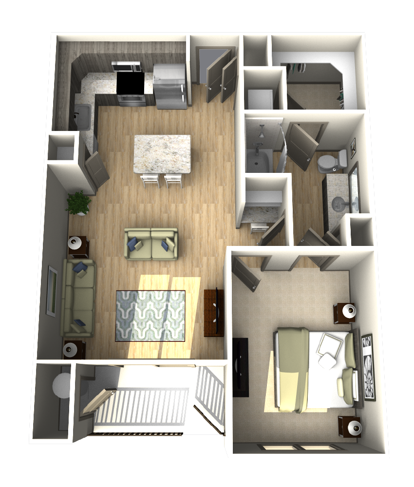 780 sq. ft. A6 floor plan