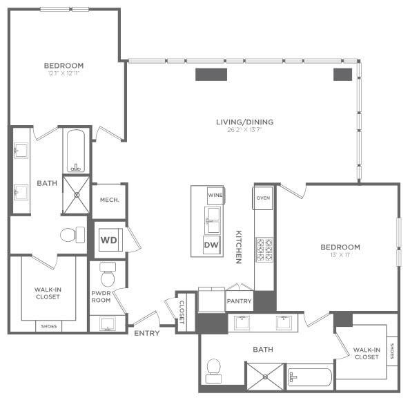 1,606 sq. ft. TB4 floor plan