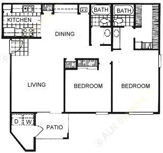 960 sq. ft. floor plan