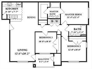 1,202 sq. ft. Hudson-C1 floor plan