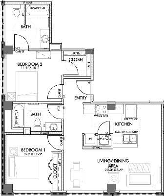930 sq. ft. Monroe.3 floor plan
