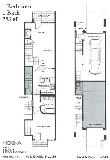 793 sq. ft. SA1 floor plan