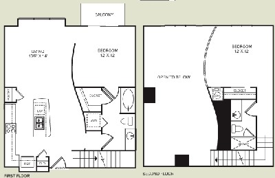1,129 sq. ft. B3L floor plan