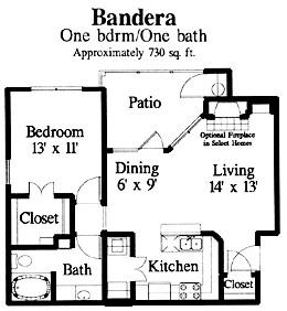 730 sq. ft. Bandera floor plan