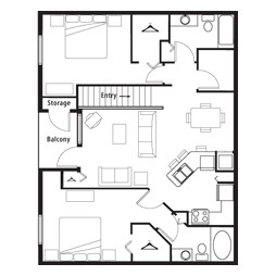 1,081 sq. ft. GAR1 floor plan