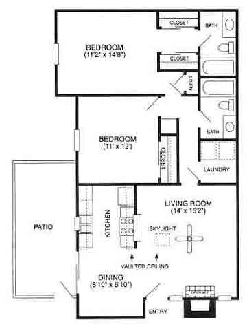 980 sq. ft. Avalon/B1 floor plan