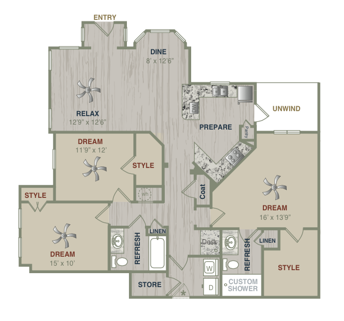 1,511 sq. ft. C1LG floor plan