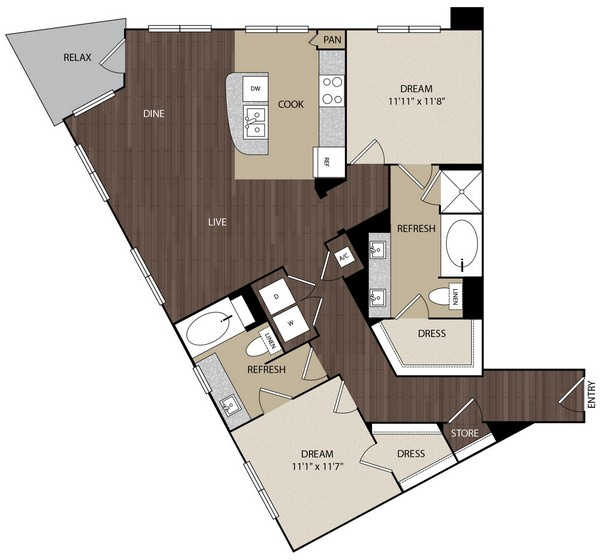 1,221 sq. ft. B2A floor plan