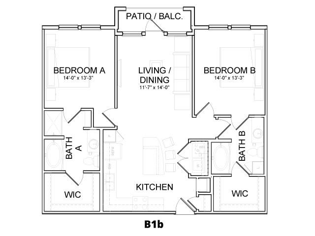 1,068 sq. ft. B1D floor plan