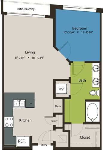 753 sq. ft. A8J floor plan
