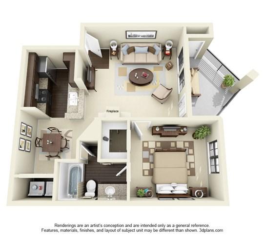 698 sq. ft. B floor plan