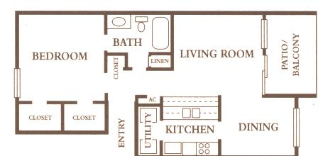 640 sq. ft. A1 floor plan