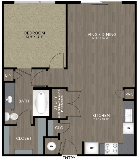 780 sq. ft. Marsalis floor plan