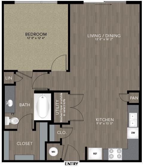 780 sq. ft. Marsalis floor plan