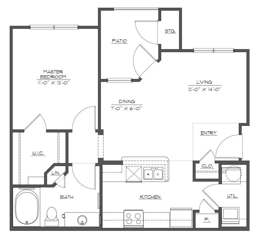 724 sq. ft. A1 floor plan