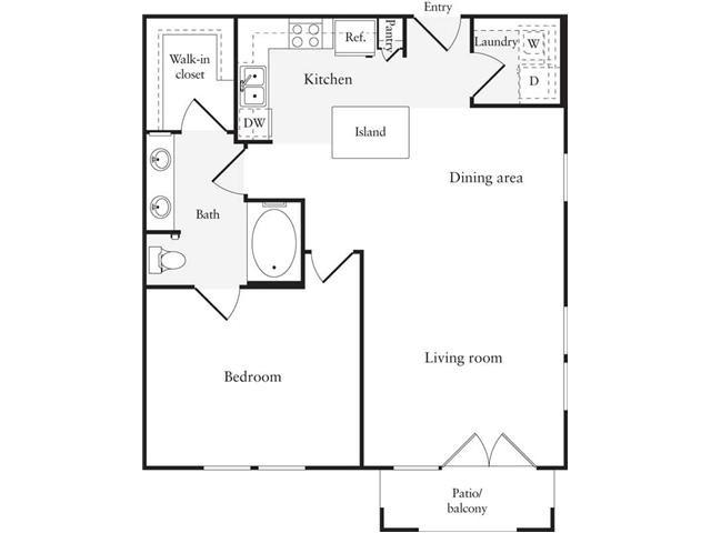 783 sq. ft. A7 floor plan