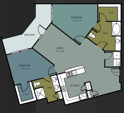 1,301 sq. ft. B10 floor plan