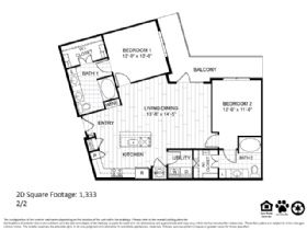 1,333 sq. ft. 2D floor plan