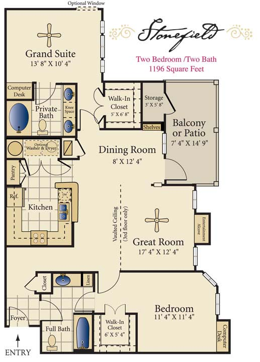 1,196 sq. ft. D floor plan