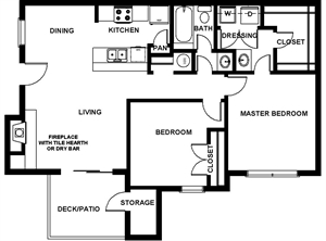 892 sq. ft. B1 floor plan