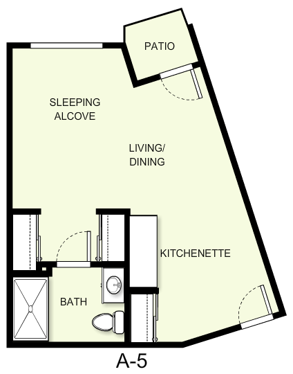 458 sq. ft. A5 floor plan